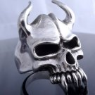 925 SILVER SILVER HORN SKULL JAW CHOPPER LIVE TO RIDE RING US sz 12