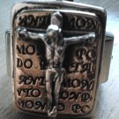 925 STERLING SILVER JESUS PAPA CROSS CRUCIFIX RING US SZ 6-15