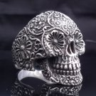 925 Sterling Flower Head Eye Skull Biker Chopper Ring US sz 7 to15