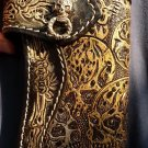 CARVED SKULL W. SILVER CONCHO BIKER BI FOLD CALF HANDCRAFED LEATHER WALLET