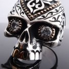 925 STERLING SILVER GOLD PLATED SKULL JAW ZIRCON GEMEYE BIKER RING US sz 7 to 15