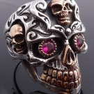 925 STERLING SILVER GOLD PLATED SKULL JAW GEMEYE BIKER RING US sz 7 to 15