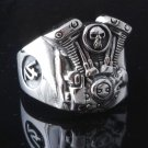 925 STERLING SILVER PISTON SKULL V2 ENGINE MOTORCYCLE BIKER RING US sz 11