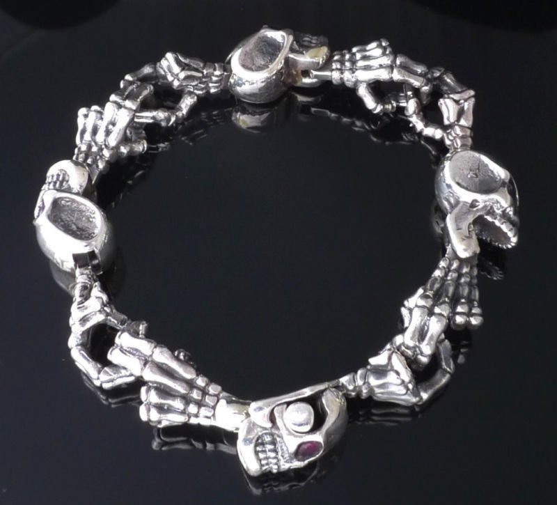 "925 SOLID STERLING SILVER SKULL GEM EYE MEN'S BIKER BRACELET  7.5""-9"""