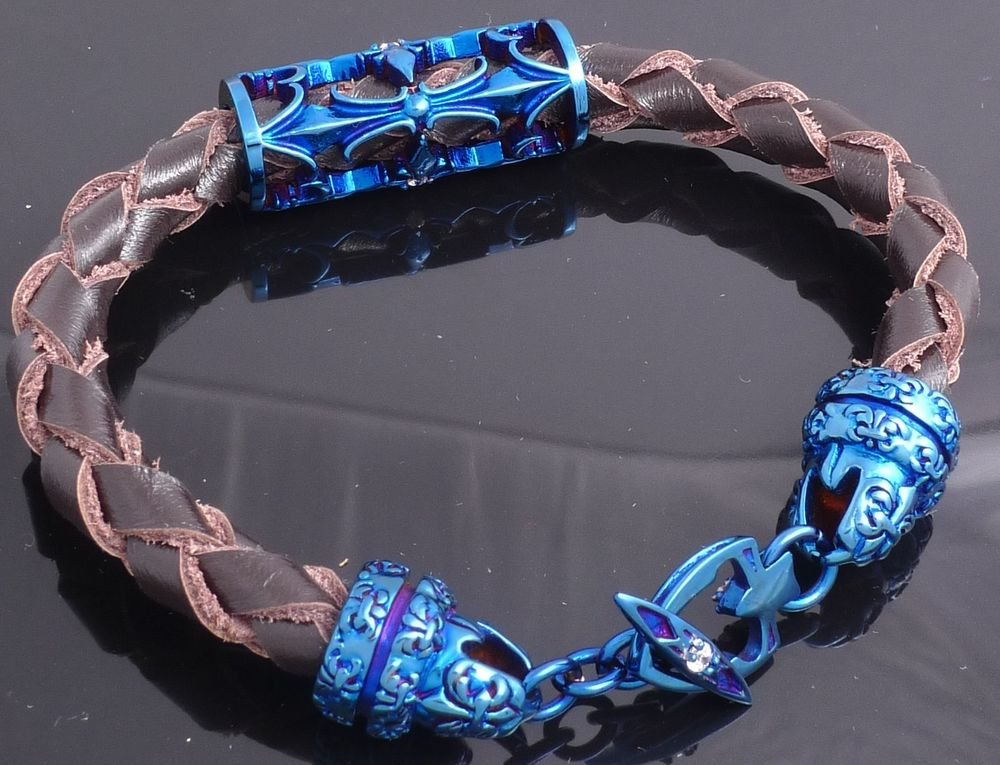 STAINLESS STEEL IP PLATED ZIRCONIA GEMSTONE TRIBAL DESIGN LEATHER BRACELET 21cm
