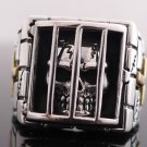 925 STERLING SILVER SKULL IN BARS CROSS BIKER RING US sz 10.25 to 13