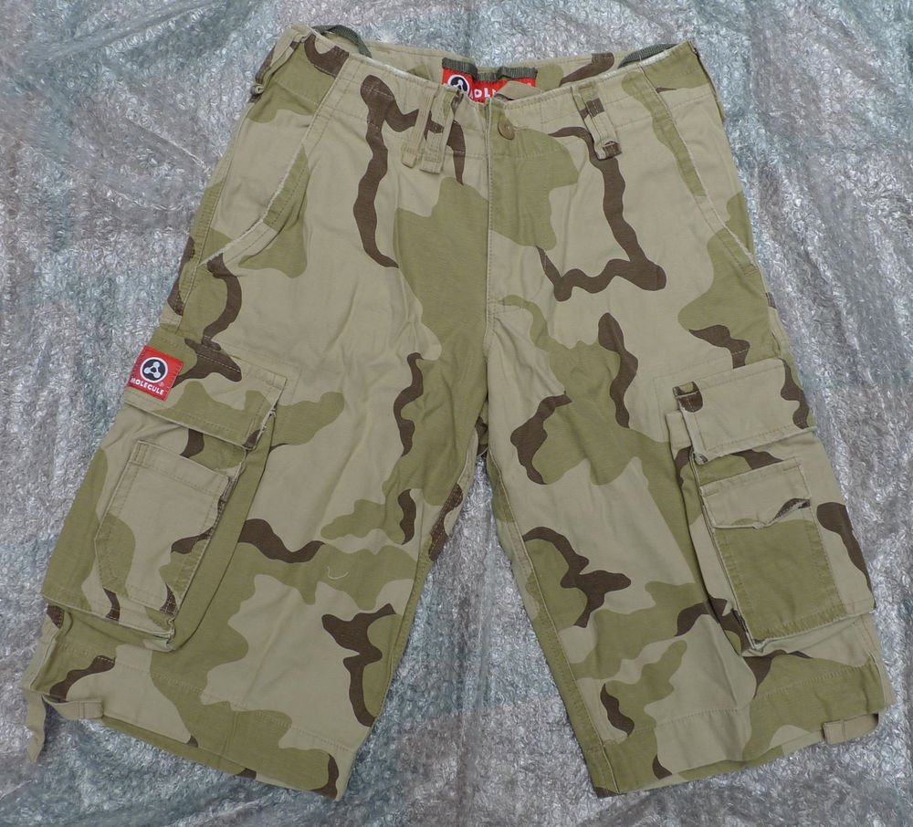 NEW CAMO MOLECULE CARGO TOUGH 100% COTTON SHORTS  S-L