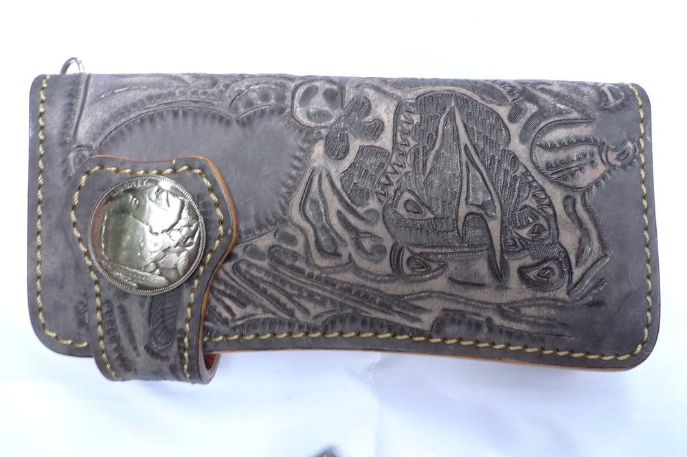 BIFOLD CARVED DRAGON GRAY CALF LEATHER WALLET WITH CONCHO