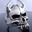 925 SILVER SILVER HORN SKULL JAW BIKER LIVE TO RIDE RING US sz 10