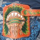 BIFOLD CARVED COLORFUL INDIAN HEAD CALF LEATHER WALLET WITH CONCHO