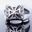 MALTESE IRON CROSS 925 SILVER ZIRCONIA LORD OF KINGS CHOPPER RING US sz 6 to 15