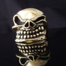 Skull Brass Biker Chopper Ring US sz 9, 9.75, 11.25