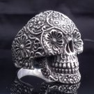 925 Sterling Flower Head Eye Skull Biker Chopper Ring US sz 6 to 15
