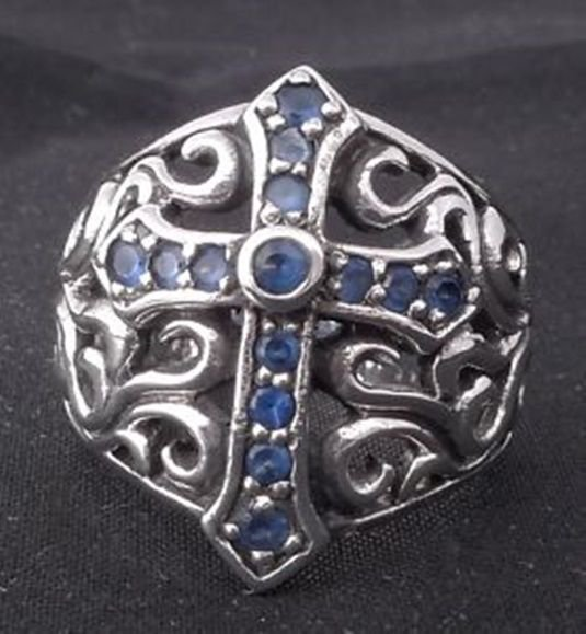 925 Sterling Silver Gothic Cross Music Player Bike Rider Outlaw Ring US sz 11