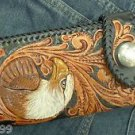 CARVED BI FOLD CALF TRIBAL FANCY EAGLE CHOPPER BIKER WALLET