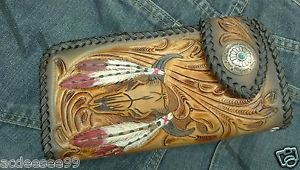 CARVED BI FOLD CALF TRIBAL BULLHORN CHOPPER BIKER WALLET