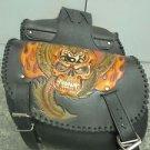 Carved Skull Flame Motorcycle Biker Chopper Leather Saddle Bag