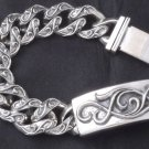 TATTOO ROCKER BIKER SOLID STERLING SILVER HEAVY SOLID LOWRIDER BRACELET 7""
