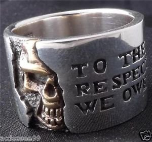 925 STERLING SILVER HALF SKULL BIKER MEN´S RING US sz 11.5