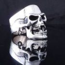 STERLING SILVER PIERCED SKULL JAW BIKER CHOPPER MEN´S RING US sz 10.5