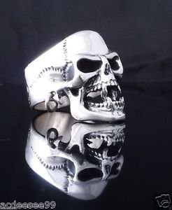 STERLING SILVER PIERCED SKULL JAW BIKER CHOPPER MEN´S RING US sz 11.5