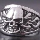 925 SILVER SKULL BONE FLAME BIKER CHOPPER RING MINT CONDITION US SZ 7 TO 15