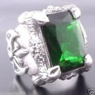 .925 STERLING SILVER BATTLE AXE GREEN ZIRCONIA GEM CHOPPER BIKER RING sz 6 to 15