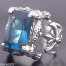 .925 STERLING SILVER BATTLE AXE BLUE ZIRONIA GEM CHOPPER BIKER RING sz 6 to 15
