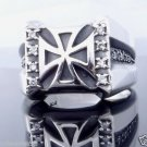 925 STERLING SILVER ZIRCONIA GEMSTONE IRON CROSS CHOPPER RING  US sz 6 to 15