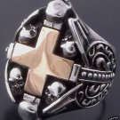 925 STERLING SILVER SKULL HEART CROSS CHOPPER RING US sz 6 to 15