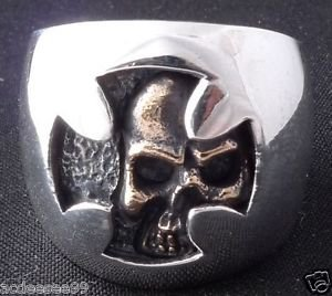 925 STERLING SILVER HIDDEN SKULL CHOPPER BIKER RING US sz 6 to 15