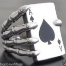 925 SILVER SKELETON ACE CARD DECK CLAW BIKER KING ROCKSTAR RING US sz 5  to 14