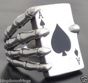 925 SILVER SKELETON ACE CARD DECK CLAW BIKER KING ROCKSTAR RING US sz 5  to 14
