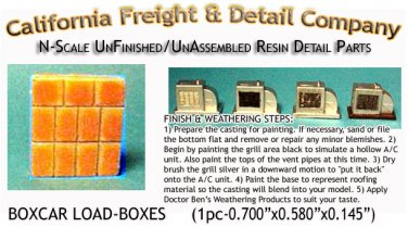 BOXCAR LOAD-BOXES (1pc) N/Nn3/1:160-Scale CALIFORNIA FREIGHT & DETAILS