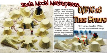 OLD TREE STUMPS X-LARGE Scale Model Masterpieces 12pcs 1/48-1/32-1/64-1/25 *NEW!