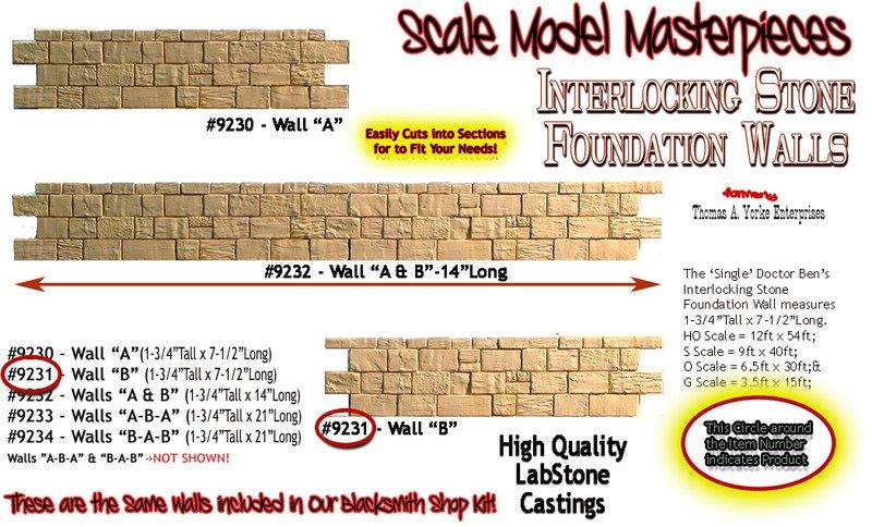 "INTERLOCKING STONE FOUNDATION WALL ""B"" Scale Model Masterpieces/Yorke S/On3/On30"