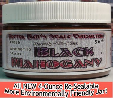 BLACK MAHOGANY WEATHERING STAIN-4oz Doctor Ben's  FLOQUIL REPLACEMENT WOOD/RESIN