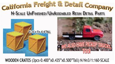 WOODEN CRATES/BOXES-LARGE (3pcs) N/Nn3/1:160-Scale CAL FREIGHT
