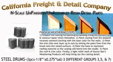 STEEL DRUMS/BARRELS (3pc SET) N/Nn3/1:160-Scale CAL FREIGHT