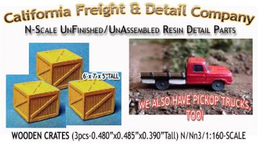 WOODEN CRATES/BOXES-xLARGE (3pcs) N/Nn3/1:160-Scale CAL FREIGHT