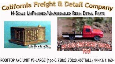 ROOFTOP A/C UNIT #3-LARGE (1pc) N/Nn3/1:160-Scale CAL FREIGHT & CO N/NN3 *NEW*