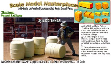 WOODEN BARRELS/CASKETS-(6pcs) Scale Model Masterpieces O/On3/On30/1:48 *NEW*