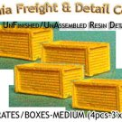 WOOD CRATES/BOXES-MEDIUM (4pcs) N/Nn3/1:160-Scale CAL FREIGHT