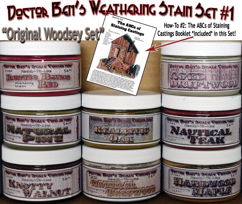 Weathering Stain Set #1 & How-To Booklet 8-COLOR READY-TO-USE FLOQUIL HO/HOn3/HOn30