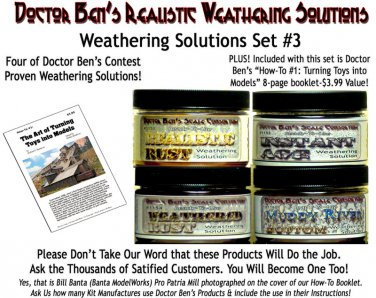 4-JAR WEATHERING SOLUTION SET #3w/How-To-Booklet-Doctor Ben's METAL/PLASTIC/WOOD