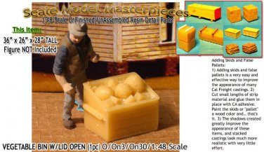WOODEN VEGETABLE CRATE/BIN-OPEN (1pc) Scale Model Masterpieces/O/On3/On30/1:48