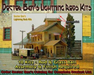 Lightning Rods Kits (10 Kits) -FSM HO/HOn3/HOn30 DOCTOR BEN'S SCALE *NEW!*