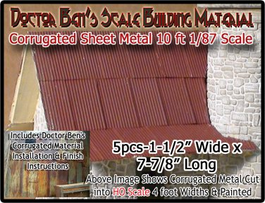 CORRUGATED SIDING/ROOFING METAL (5pcs) Doctor Ben's Scale Consortium HOn30/1;87
