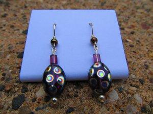 Purple Peacock Earrings
