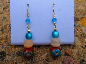 Red & Blue Flower Earrings